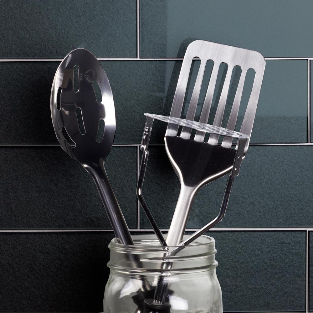 "ABOLOS Subway 3"" x 6"" Handmade Metallic Blue Gray Glossy Glass Peel & Stick Decorative Bathroom Wall Tile Backsplash Sample"