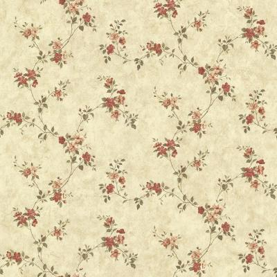 Rose Valley Red Floral Trail Wallpaper Sample