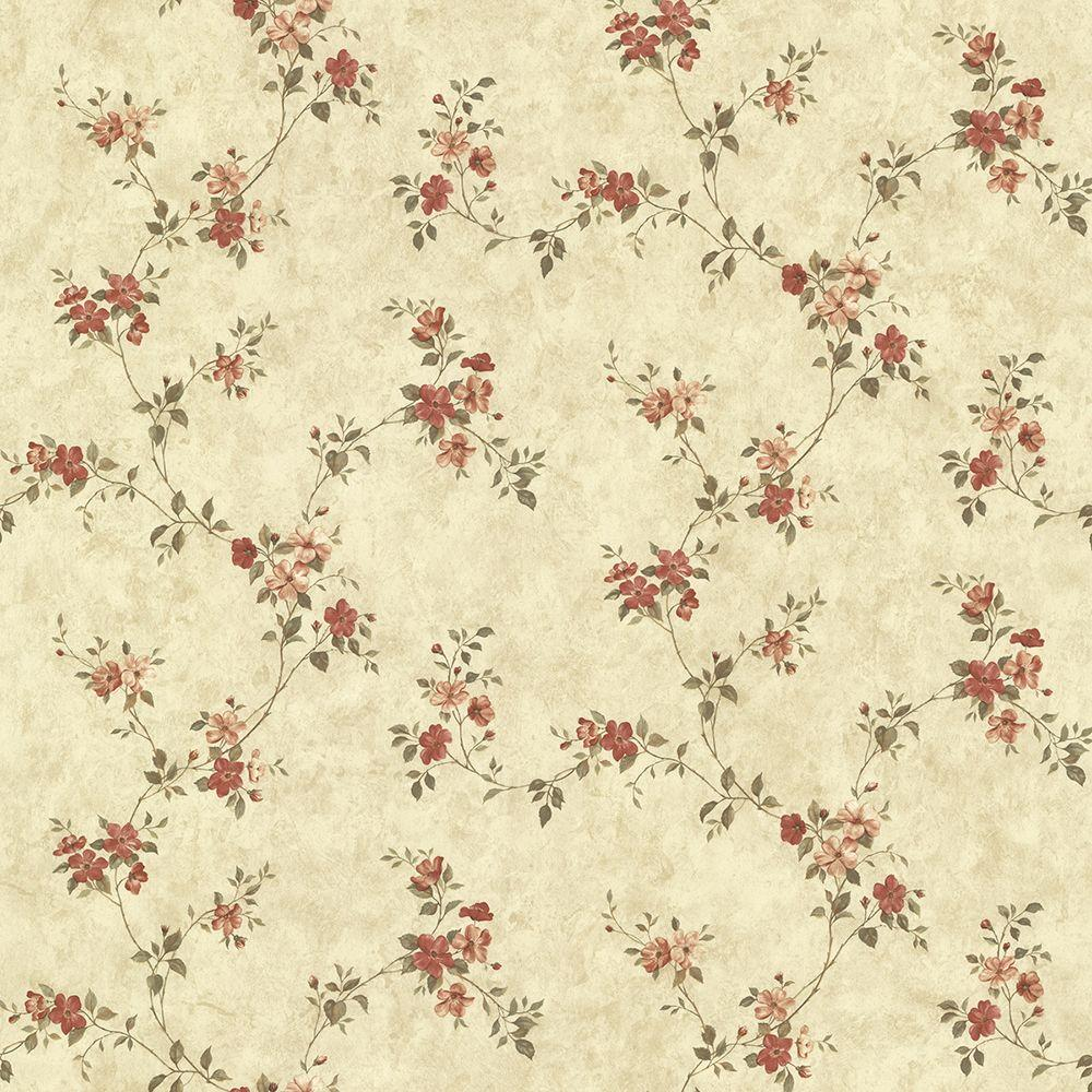 Rose Valley Red Floral Trail Paper Strippable Roll (Covers 56.4 sq. ft.)