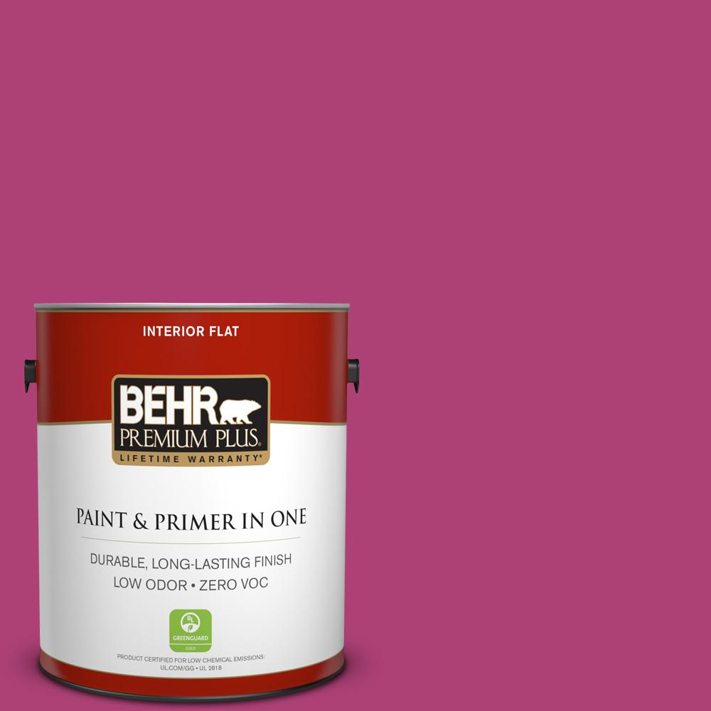 BEHR Premium Plus 1-gal. #100B-7 Hot Pink Zero VOC Flat Interior Paint