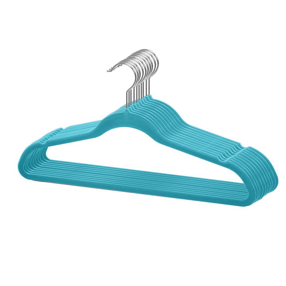 Turquoise Velvet Hanger (10-Pack)
