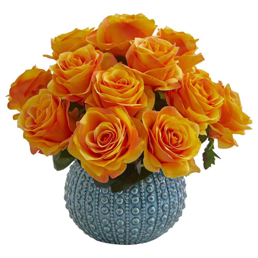 11.5 in. High Orange Roses Artificial Arrangement in Blue Ceramic Vase