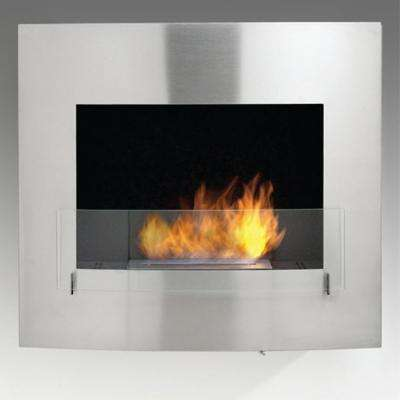 Wynn 35 in. Ethanol Wall Mounted Fireplace in Stainless Steel