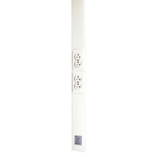 Wiremold Tele-Power Poles, 2-Channel Power Pole, 12 ft., Two 20A Duplex Receptacles, Ivory