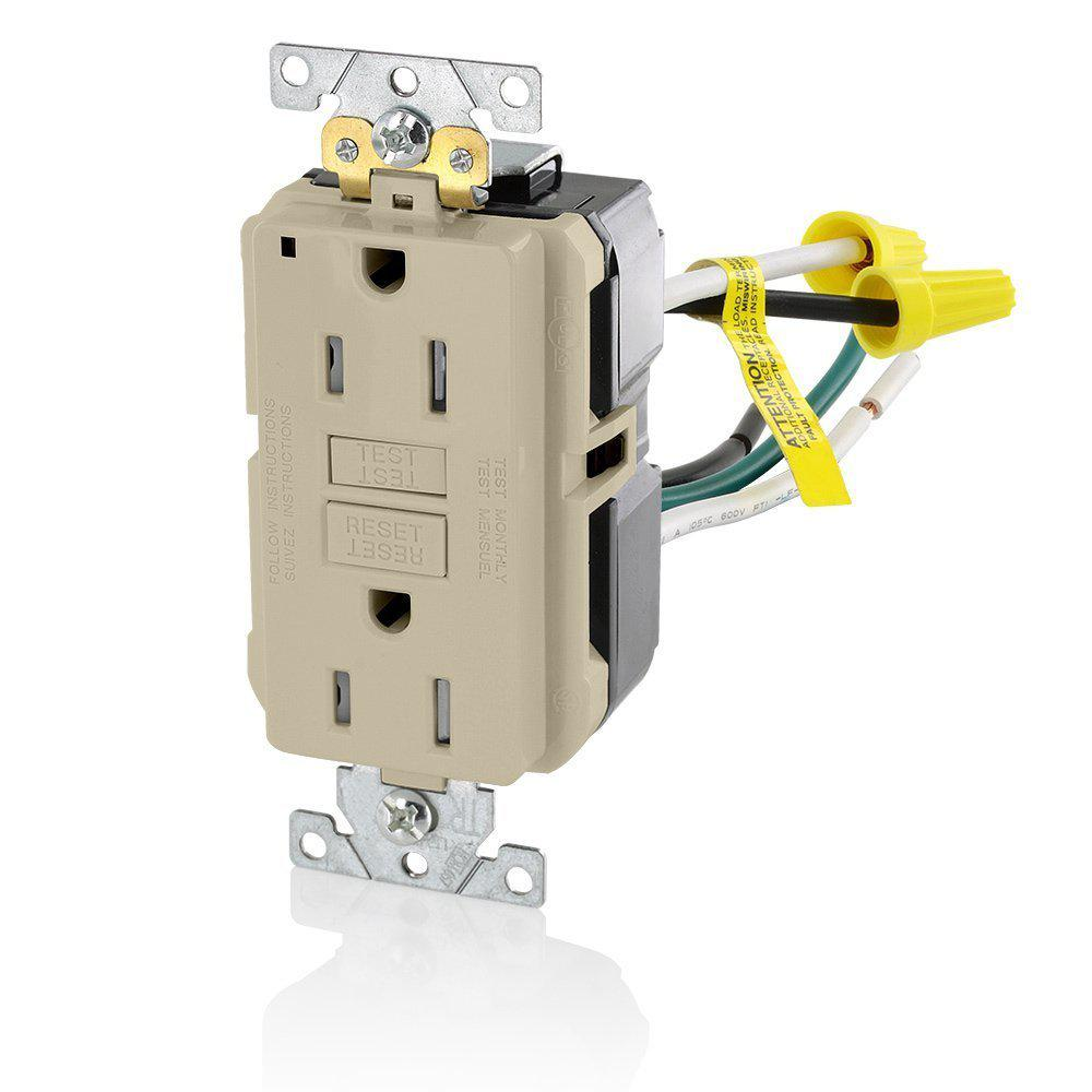 Leviton 15 Amp Smartlockpro Industrial Grade Heavy Duty Tamper Ivory Electrical Outlets Light Switches 15a Gfi Outlet Resistant Gfci With Leads