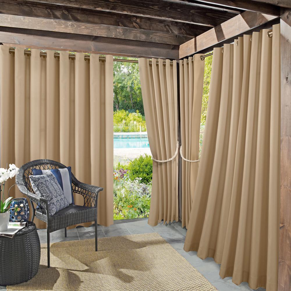 Sun Zero Outdoors Semi-Opaque Birmingham 52 in. by 84 in. Linen Indoor/Outdoor Woven Solid Window Curtain (Price Varies by Size)