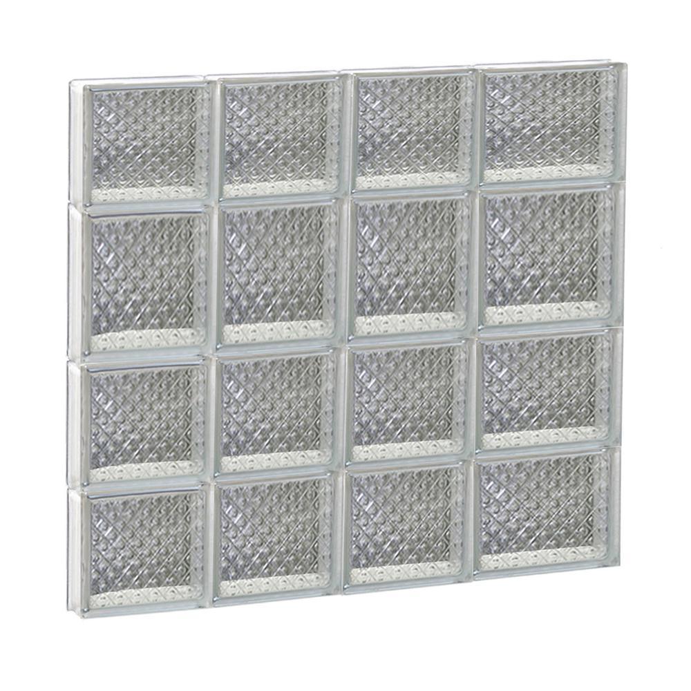 25 in. x 25 in. x 3.125 in. Non-Vented Diamond Pattern Frameless Glass Block Window