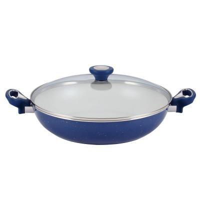 New Traditions 12.5 in. Aluminum Ceramic Nonstick Skillet in Blue Speckle with Glass Lid