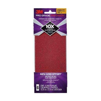 Pro Grade Precision 3-2/3 in. x 9 in. 220 Grit Fine Advanced Sanding Sheets (6-Pack) (Case of 18)