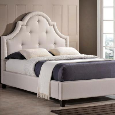 Colchester Transitional Beige Fabric Upholstered King Size Bed
