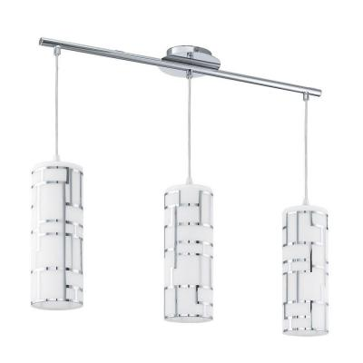 Bayman 28.14 in. 3-Light Chrome Linear Pendant with Frosted White Glass Shades with Chrome Accents