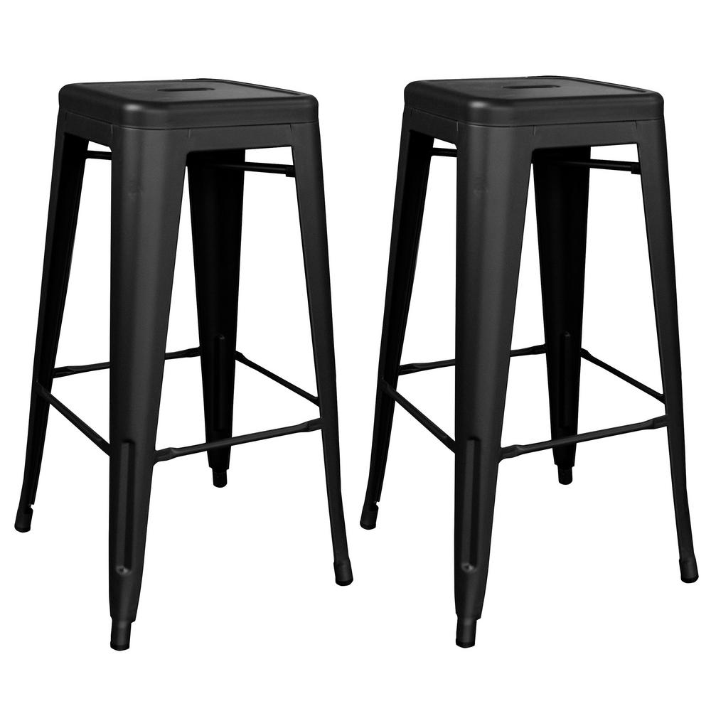 Loft Series 30 in. Indoor/Outdoor Stackable Anti-Rust Coated Metal Bar Stool