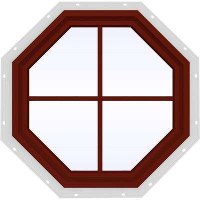 23.5 in. x 23.5 in. V-4500 Series Fixed Octagon Geometric Vinyl Window with Grids in Red