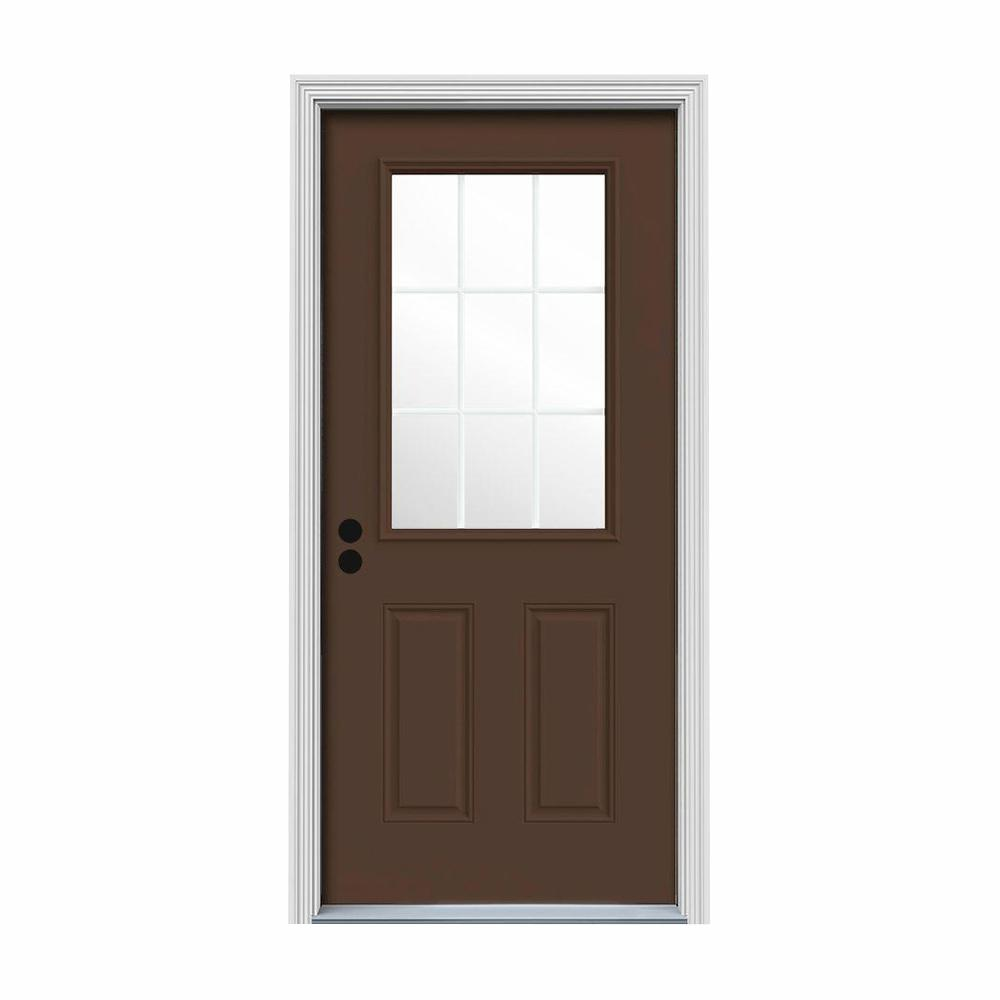 JELD-WEN 34 in. x 80 in. 9 Lite Dark Chocolate Painted Steel Prehung Right-Hand Inswing Front Door w/Brickmould
