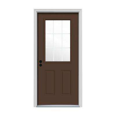 34 in. x 80 in. 9 Lite Dark Chocolate Painted Steel Prehung Right-Hand Inswing Front Door w/Brickmould