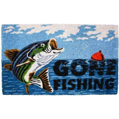 18 in. x 30 in. Gone Fishing Vinyl Back Coco Door Mat