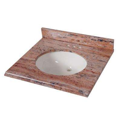 25 in. x 22 in. Stone Effects Vanity Top in Bordeaux with White Sink