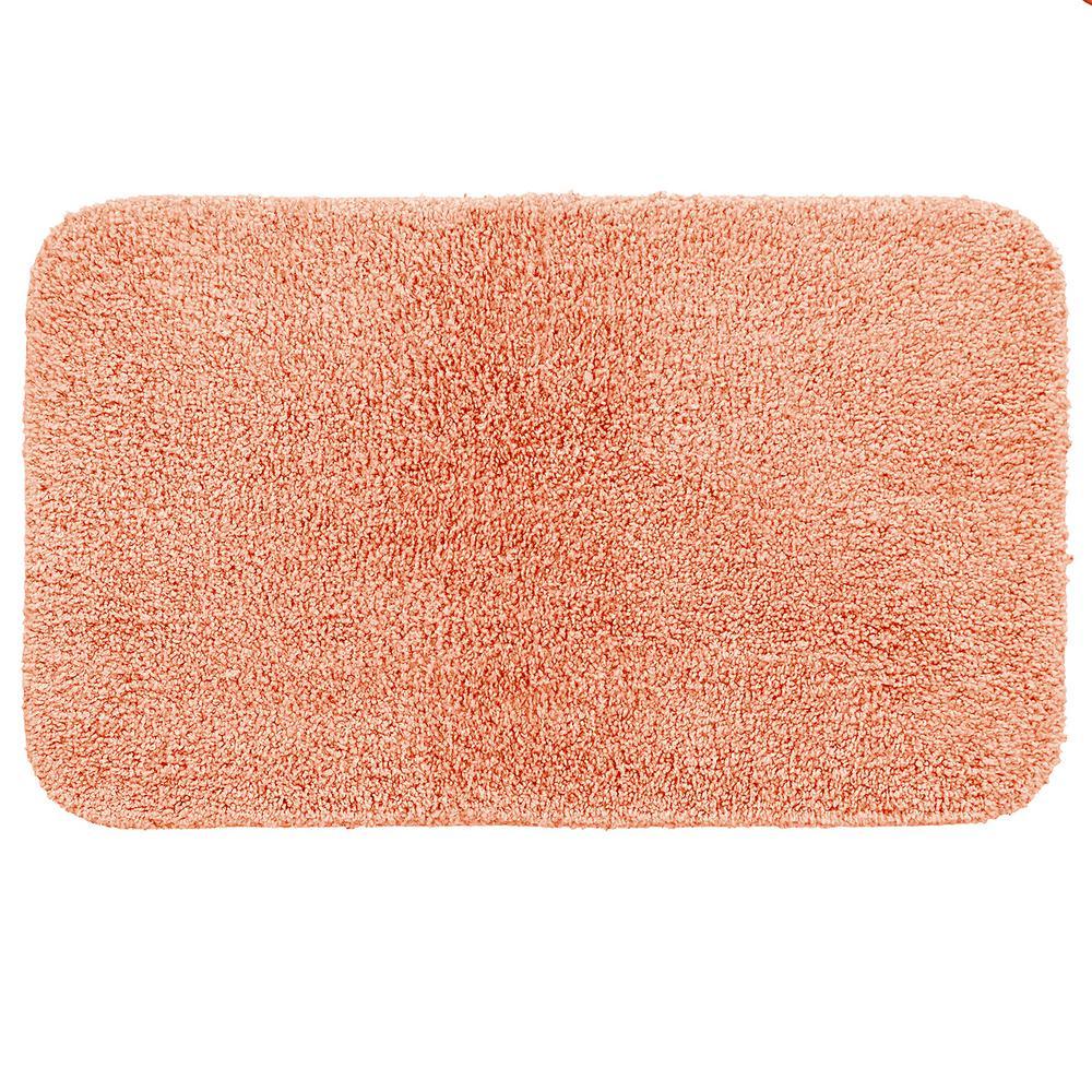 Basic Bath 19.5 in. x 32 in. Nylon Bath Mat in Coral