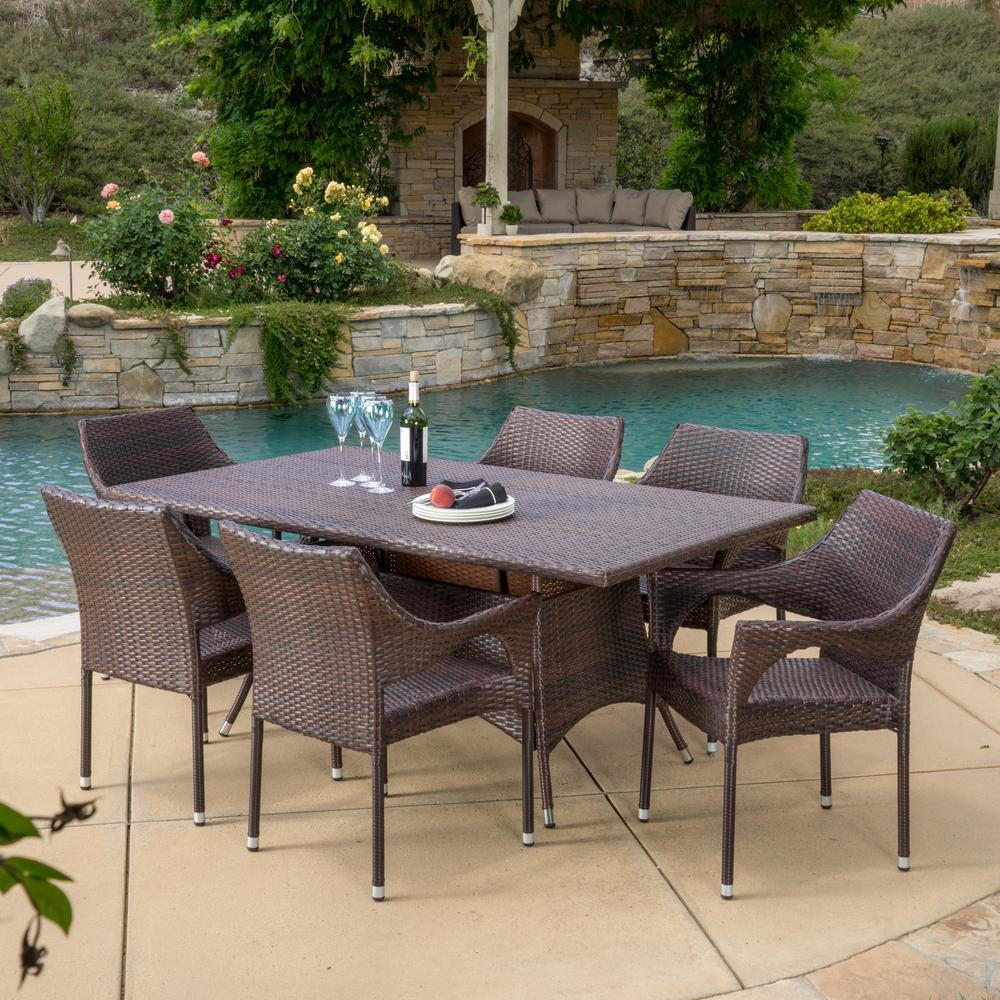 Sinclair Multi-Brown 7-Piece Wicker Outdoor Dining Set