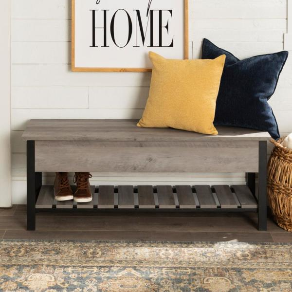 48 in. Gray Wash Open-Top Storage Bench with Shoe Shelf