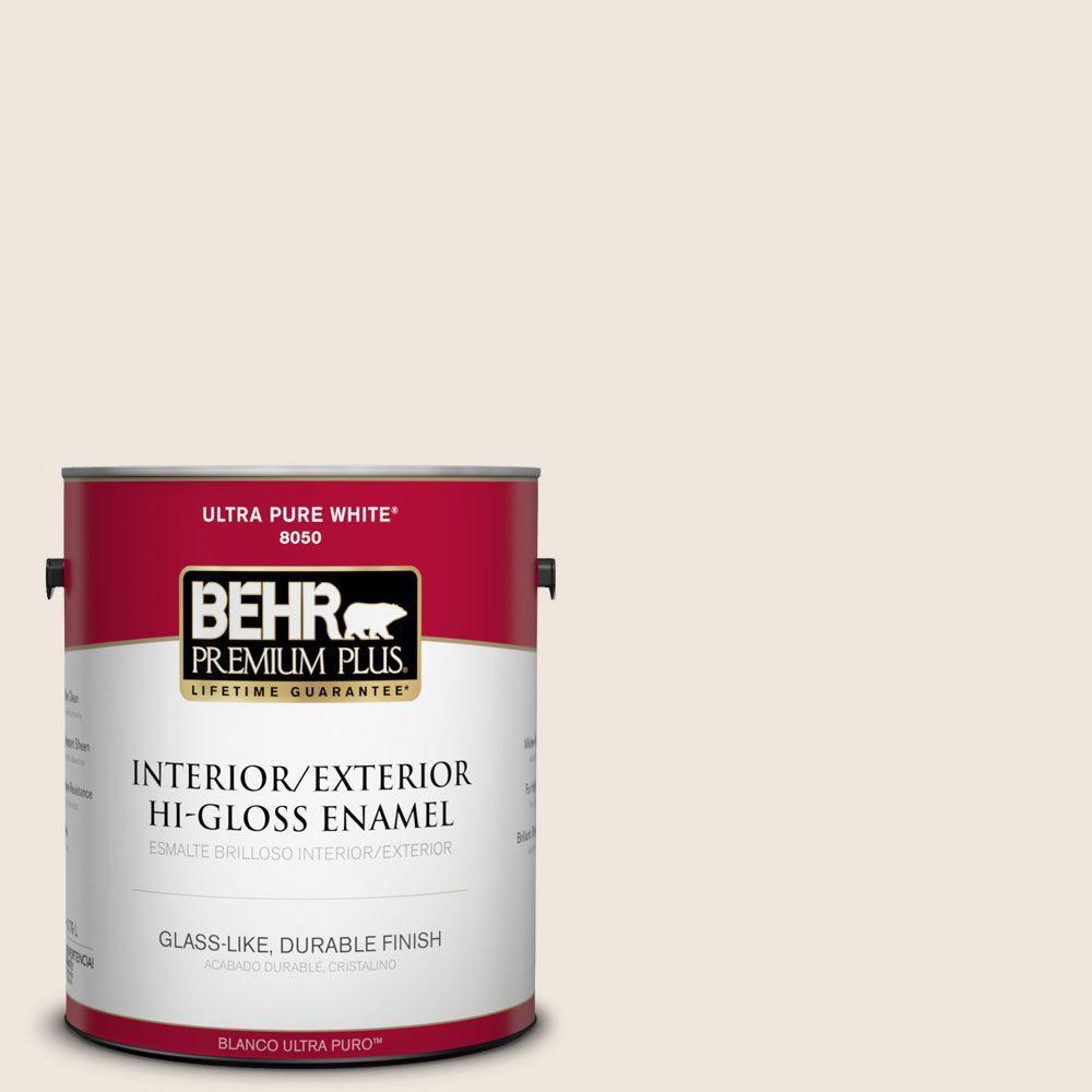 BEHR Premium Plus 1-gal. #W-B-710 Almond Cream Hi-Gloss Enamel Interior/Exterior Paint