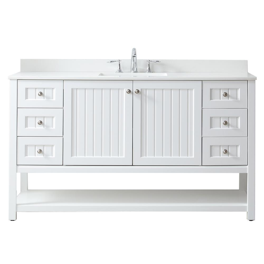 . White   Bathroom Vanities   Bath   The Home Depot