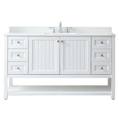 Seal Harbor 60 in. W x 22 in. D Vanity in White with Quartz Vanity Top in Pure White with White Basin