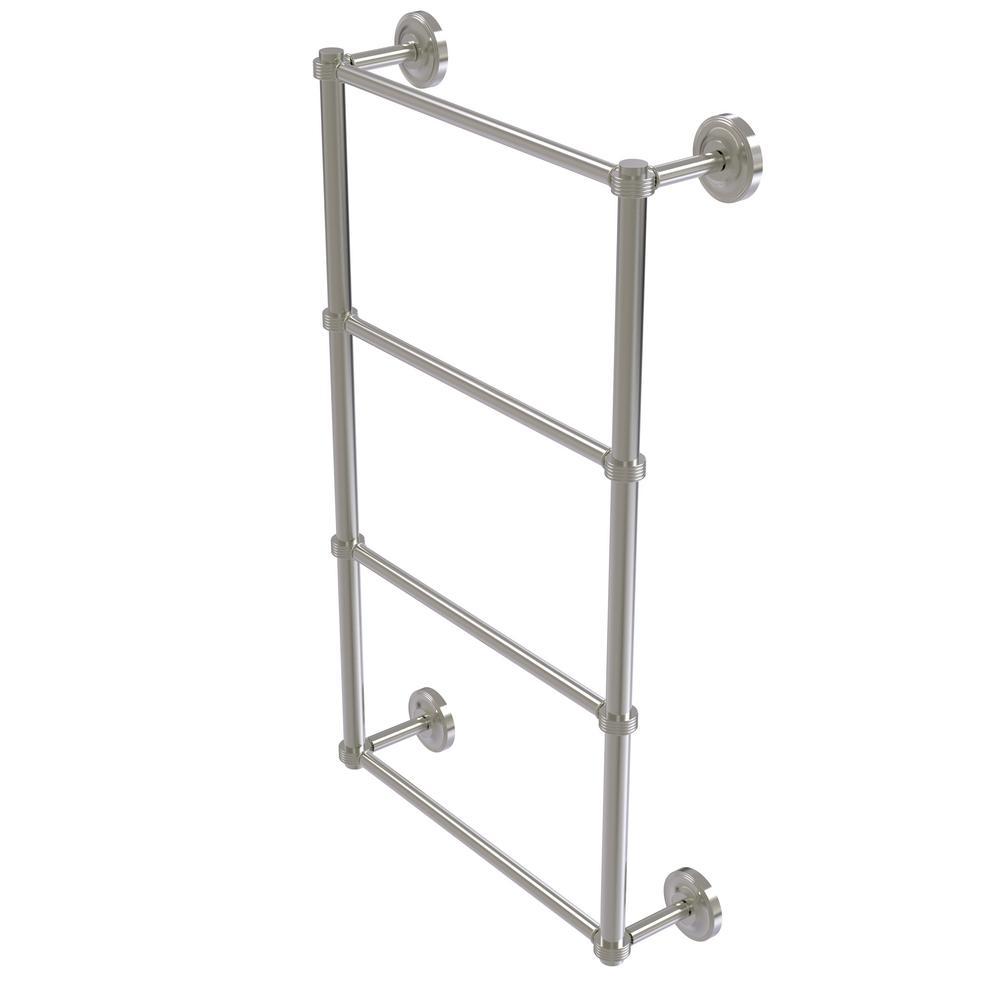 Prestige Regal 4 Tier 30 in. Ladder Towel Bar with Groovy Detail in Satin Nickel