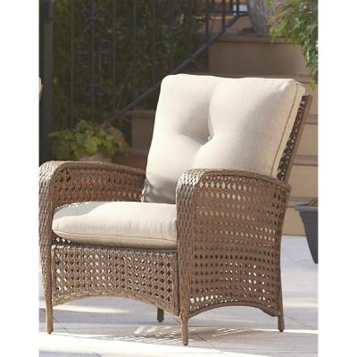 Lakewood Ranch Steel Woven Wicker Patio Lounge Chairs with Tan Cushions (Set of 2)