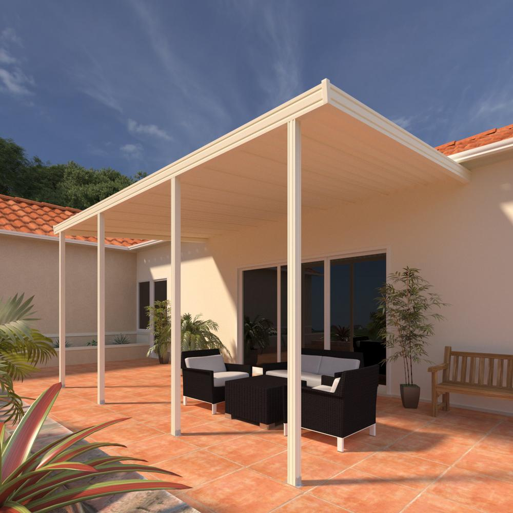 Integra 8 ft. x 16 ft. Ivory Aluminum Attached Solid Patio Cover with 4-Posts Maximum Roof Load 30 lbs.