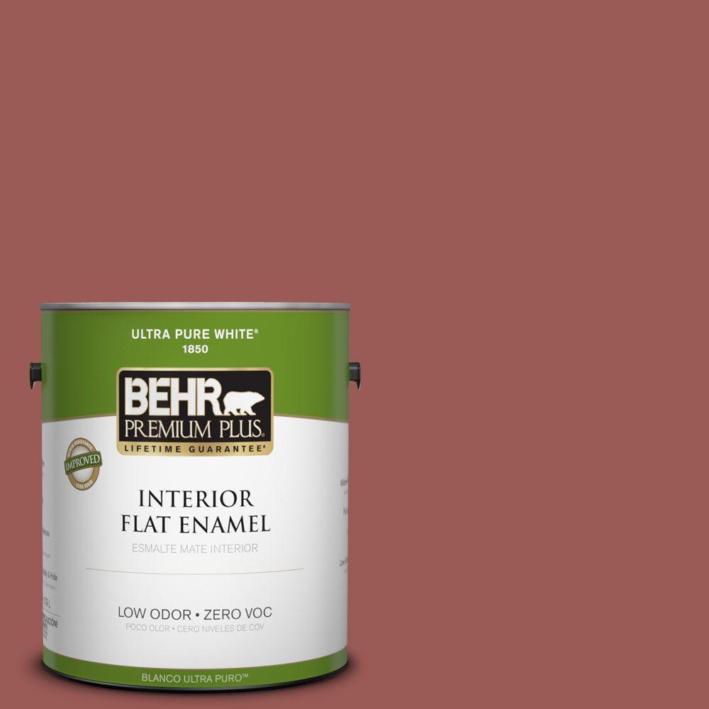 BEHR Premium Plus 1-gal. #PMD-86 Arabian Red Zero VOC Flat Enamel Interior Paint-DISCONTINUED