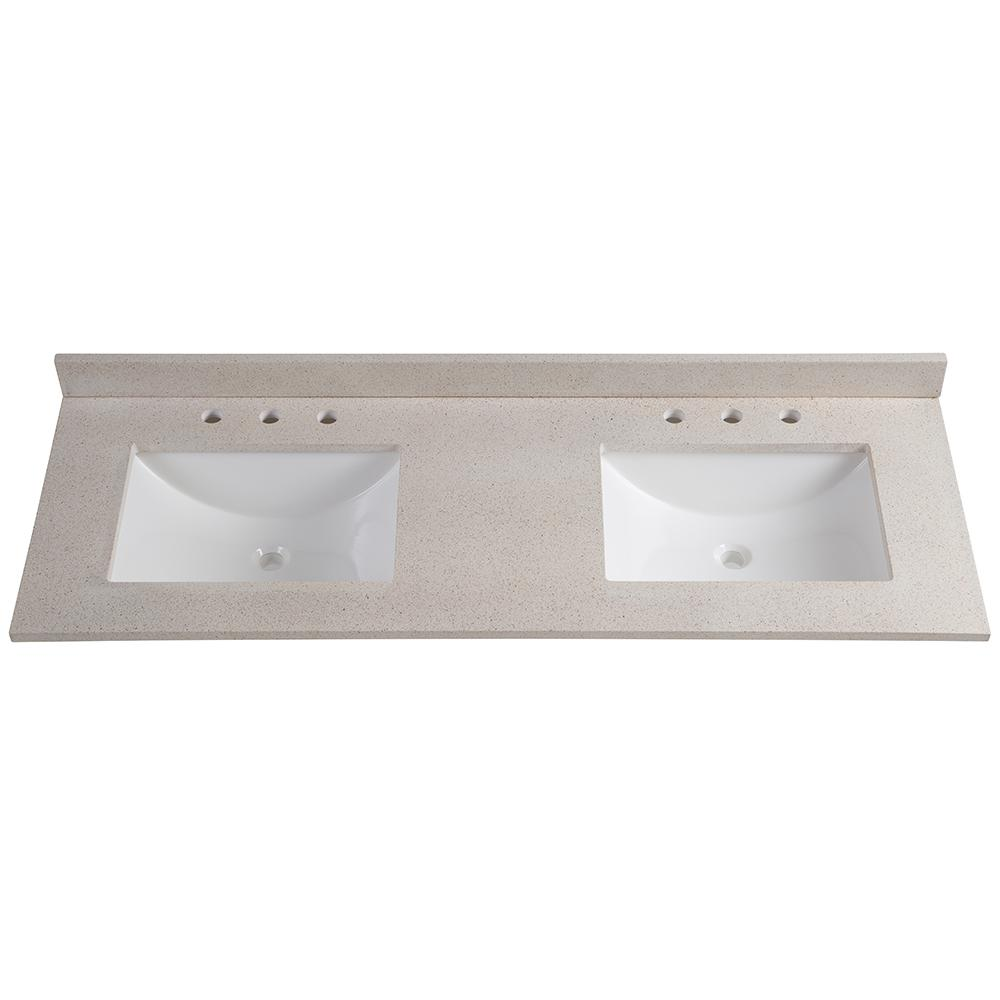 61 in. W x 22 in. D Colorpoint Double Vanity Top