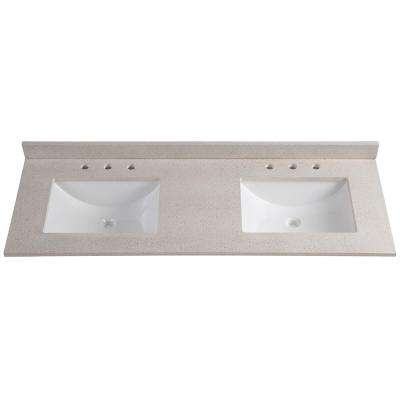 61 in. W x 22 in. D Colorpoint Double Vanity Top in Maui with White Sinks