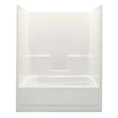 Everyday Smooth Tile 60 in. x 36 in. x 76 in. 1-Piece Tub and Shower with Right Drain in Biscuit