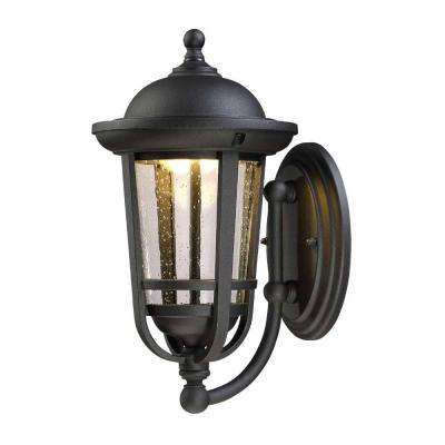 13 in. Solid Black Outdoor LED Wall Lantern with Clear Seeded Glass Shade
