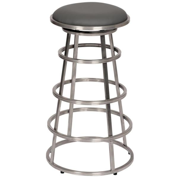 Sheryl 26 in. Backless Brushed Stainless Steel Barstool in Gray Faux Leather