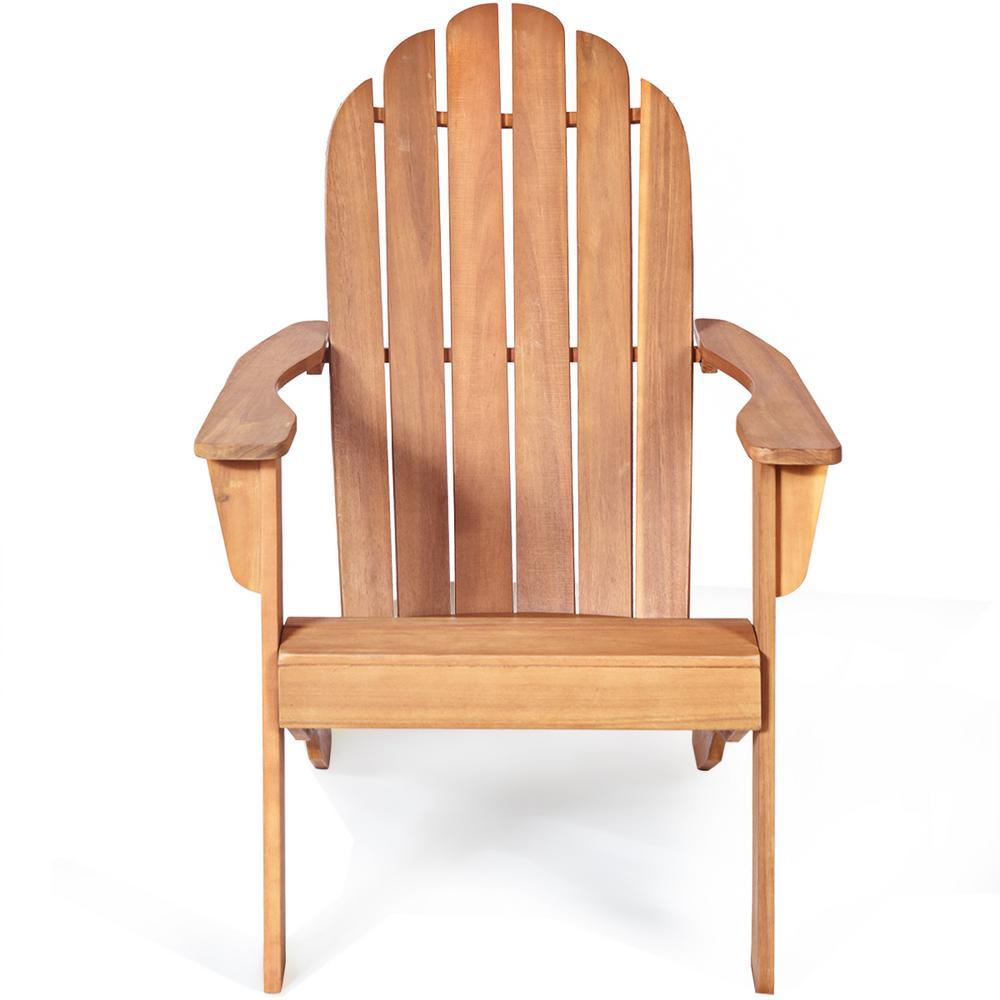 Natural Outdoor Reclining Teak Wood Adirondack Chair Durable Patio Garden Furniture