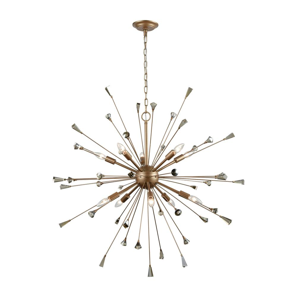 Titan Lighting Sprigny 10-Light Matte Gold With Amber Teak