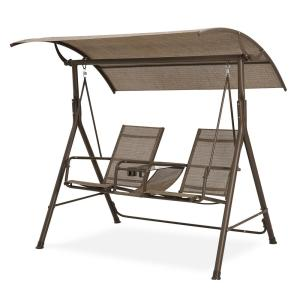 2-Person Brown Steel Frame Cover Adjustable Patio Swing for Patio Garden Poolside Balcony