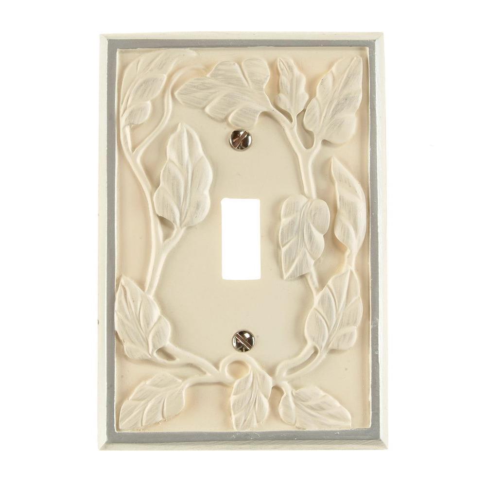 Leaf 1 Toggle Wall Plate - White