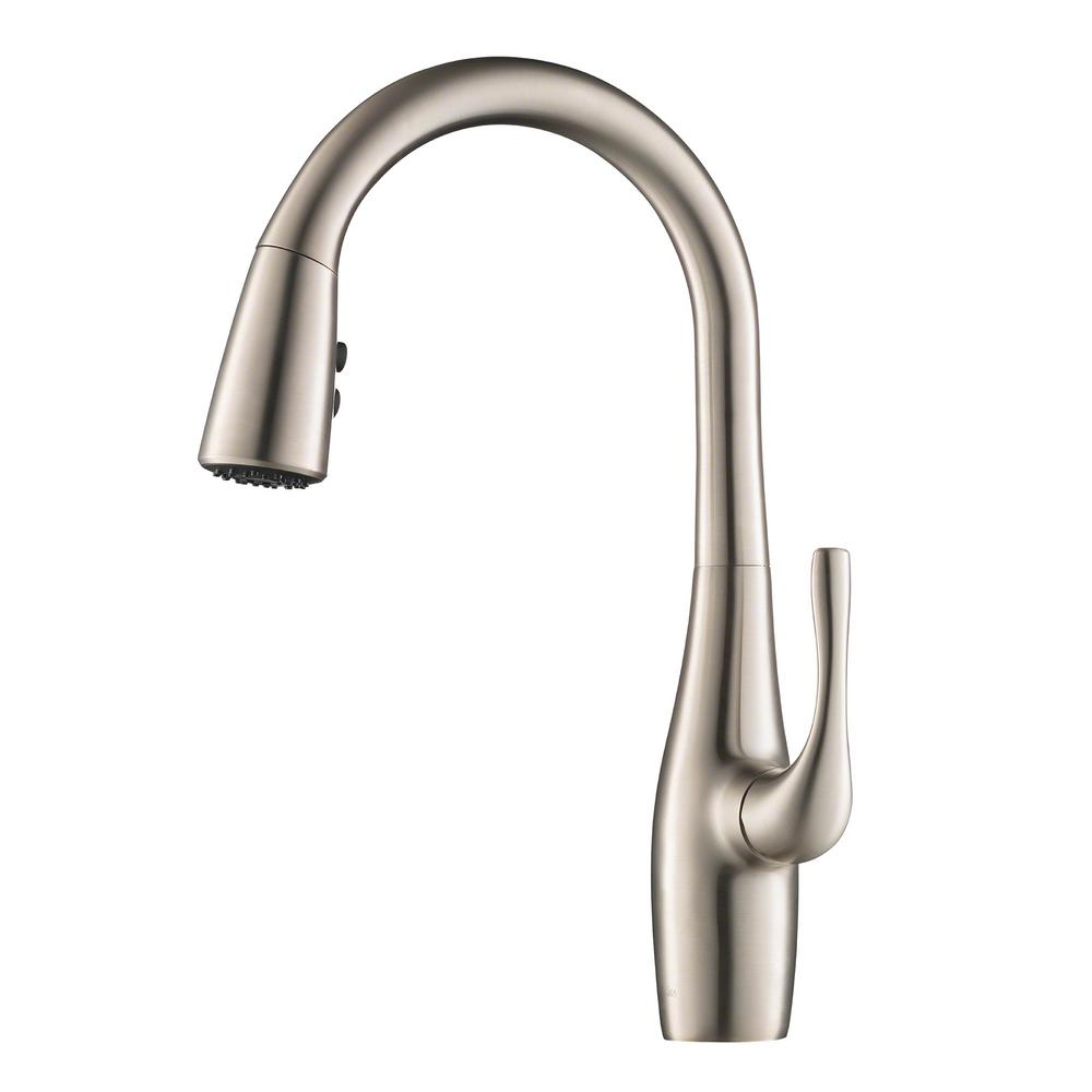Esina Single-Handle Pull-Down Sprayer Kitchen Faucet with Dual Function