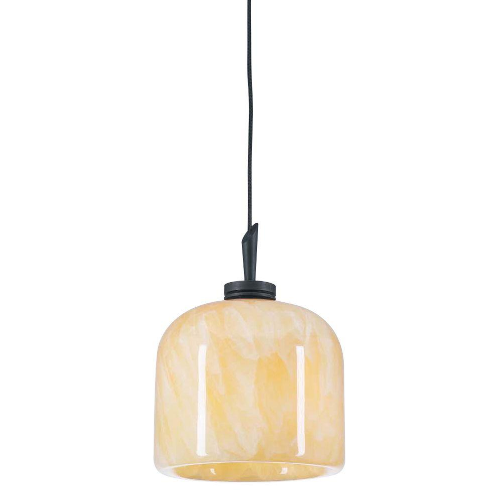 PLC Lighting 1-Light Oil-Rubbed Bronze Mini Drop Pendant with Natural Onyx Glass Shade