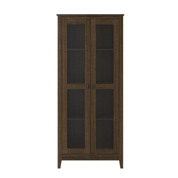 System Build Luca 31.5 in. Brown Oak Wide Storage Cabinet with Mesh Doors