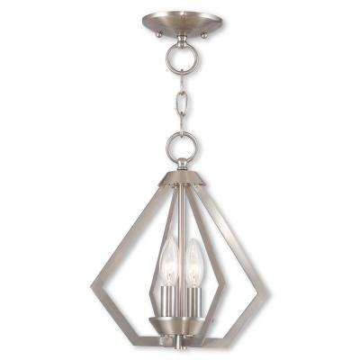 Prism 2-Light Brushed Nickel Convertible Chandelier