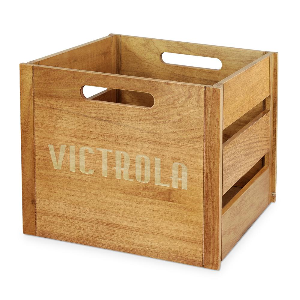 Victrola Wooden Record And Vinyl Crate Va 20 The Home Depot