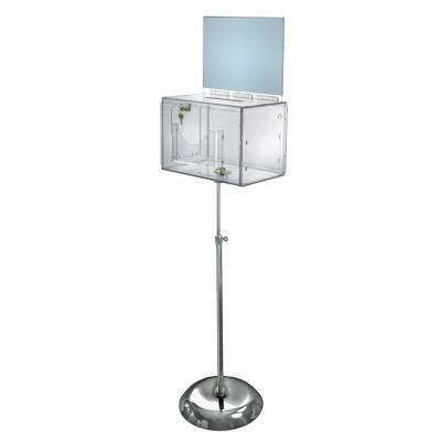 Extra-Large Acrylic Suggestion Box with Lock and Keys on Chrome Pedestal, Clear