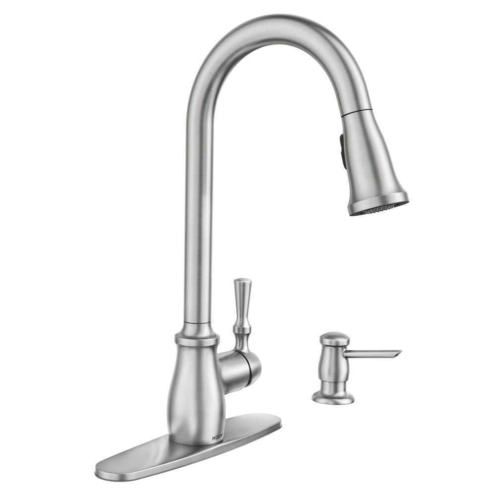 MOEN Fieldstone Single-Handle Pull-Down Sprayer Kitchen Faucet with Reflex  and Power Clean in Spot Resist Stainless