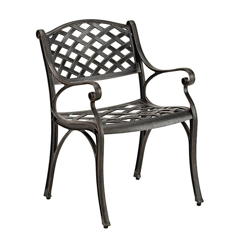 Walker edison furniture company antique bronze aluminum outdoor dining chairs set of 2
