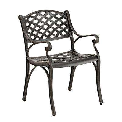 Antique Bronze Aluminum Outdoor Dining Chairs (Set of 2)
