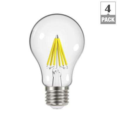 60-Watt Equivalent A19 Dimmable Filament Energy Star Classic Glass LED Light Bulb, Daylight (4-Pack)